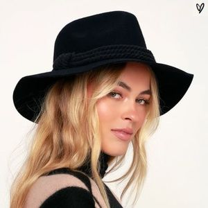 NWT - LULUS - BILLABONG ROPED IN BLACK FELT HAT